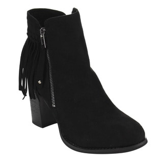 Via Pinky EC85 Women's Faux Suede Back Fringe Side Zip High Block Stacked Heel Ankle Booties