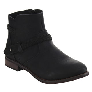 De Blossom Collection Women's GD67 Knitted-strap Low-heel Ankle Booties
