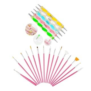 Zodaca 15-piece Set Pink Nail Art Drawing Brush with 5-piece Set Nail Art DIY Drawing Dotting Painting Pen|https://ak1.ostkcdn.com/images/products/12386986/P19209187.jpg?impolicy=medium