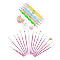 Zodaca 15-piece Set Pink Nail Art Drawing Brush with 5-piece Set Nail Art DIY Drawing Dotting Painting Pen