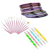 Zodaca Pink Nail Art Drawing Brush Set/ 5-piece Set DIY Nail Drawing Painting Pen/ 30-piece Mixed Color Line Nail Sticker Tape