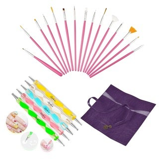 Zodaca 15-piece Pink Nail Art Drawing Brush Set/ Purple Leather Brush Roll Up/ 5-piece Set DIY Nail Drawing Painting Pen