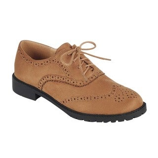 Forever Women's GD61 Faux-suede Lace-up Low Chunky Heel Casual Oxford Shoes