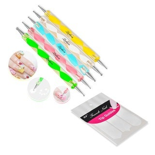 Zodaca 5-piece Set Nail Art 2-way Drawing Dotting Painting Pen/ White French Nail Guide Manicure Stickers