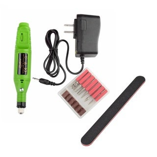 Zodaca Green 6-bit Set Pen Shape Electric Nail Art Manicure Pedicure Drill Machine/ Black Nail File Sandpaper