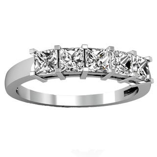14k Gold 1ct TDW Princess-cut White Diamond 5-stone Bridal Wedding Band Anniversary Ring (H-I, I1-I2)