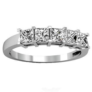 Elora 14k Gold 1ct TDW Princess-cut White Diamond 5-stone Bridal Wedding Band Anniversary Ring (H-I, I1-I2