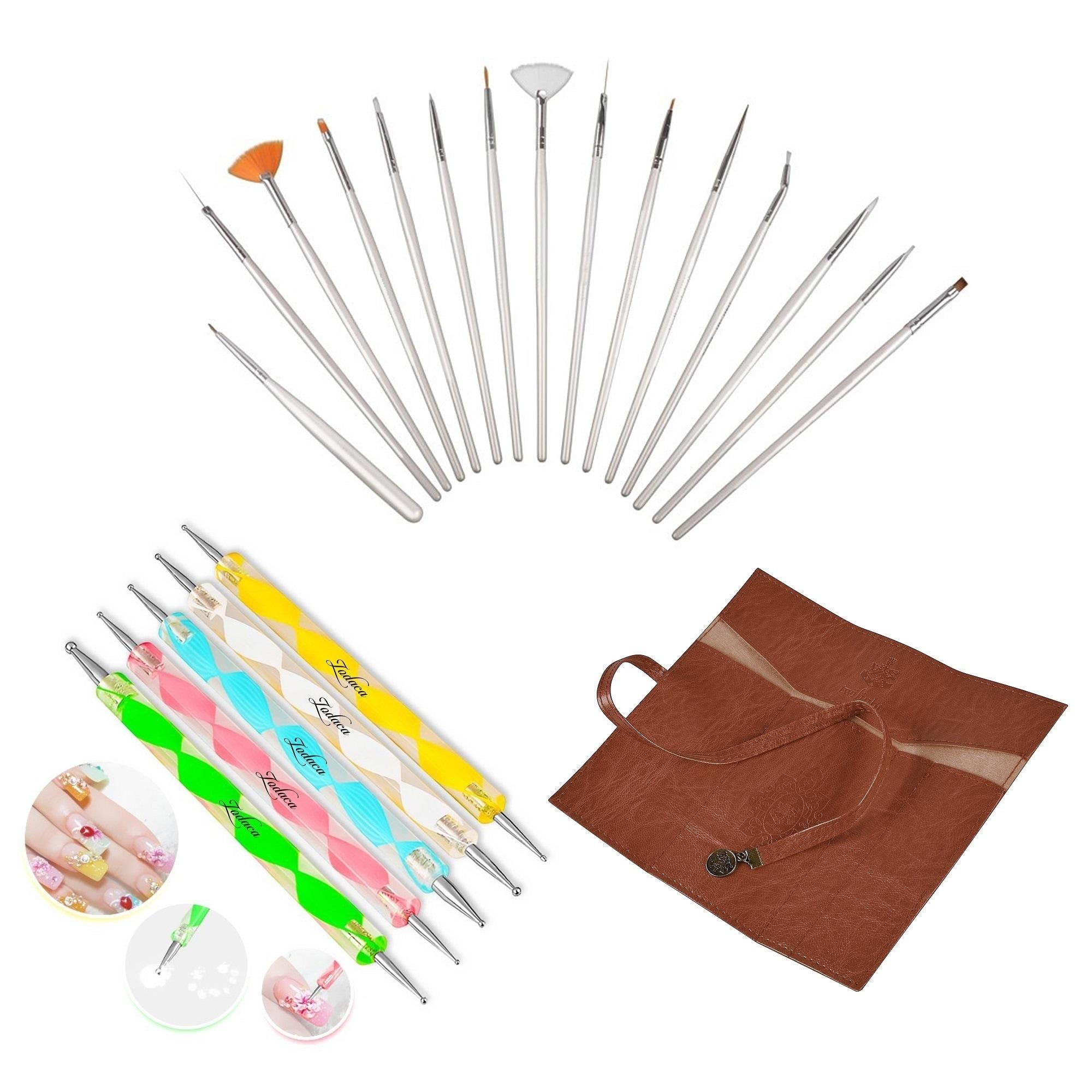 Zodaca 15-piece Pink Nail Art Drawing Brush Set/ Brown Le...