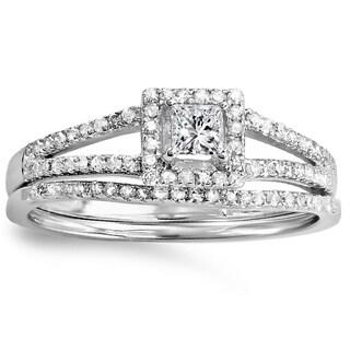 18k White Gold 2/5ct TDW Princess and Round Diamond Square Split Shank Halo Bridal Engagement Ring Set (H-I, I1-I2)