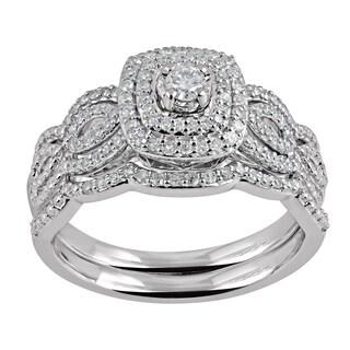 Sterling Silver 2/5ct TDW Diamond Wavy Band Bridal Set (I-J, I2-I3)
