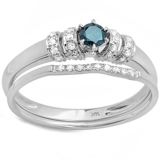 Elora 10k White Gold 1/3ct TDW Round Blue and White Diamond Bridal Engagement Ring Set
