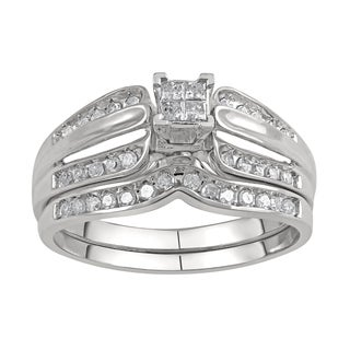 10k White Gold 1/3ct TDW Diamond Bridal Set