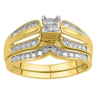 10k Yellow Gold 1/3ct TDW Diamond Bridal Set (I-J, I2-I3)
