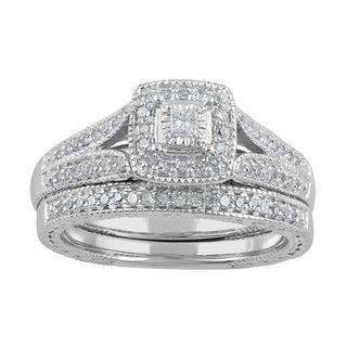 sterling silver 13ct tdw diamond split shank bridal set - Sterling Silver Wedding Ring Set