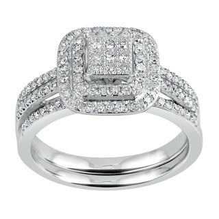 10k White Gold 1/2ct TDW Diamond Halo Bridal Ring (I-J, I2-I3)