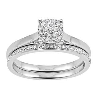 10k White Gold 1/6ct TDW Round-cut Diamond Bridal Set