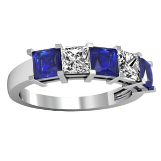 14k White Gold 2ct TW Princess-cut Blue Sapphire and Diamond 5-stone Anniversary Wedding Band (H-I, I1-I2)