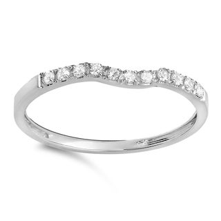 Elora 14k Gold 1/6ct TDW Round-cut Diamond Anniversary Wedding Stackable Contour Guard Band (I-J, I2-I3)