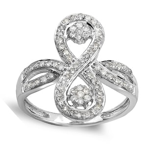 Elora 14k White Gold 1/2ct TDW Diamond Flower Cocktail Right-hand Ring (H-I, I1-I2)