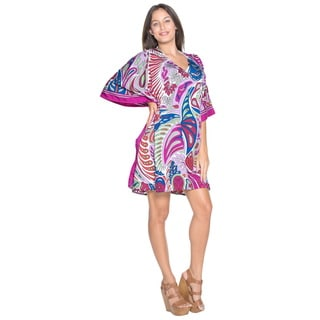 La Leela Women's Blue/Purple Likre Beach Coverup/ Kimono/Kaftan/Dress