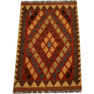 Herat Oriental Afghan Hand-woven Vegetable Dye Wool Kilim (2'2 x 3'1)