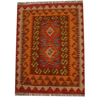 Herat Oriental Afghan Hand-woven Vegetable Dye Wool Kilim (2'2 x 2'11)
