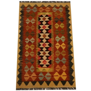 Herat Oriental Afghan Hand-woven Vegetable Dye Wool Kilim (2'1 x 3'4)