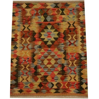 Herat Oriental Afghan Hand-woven Vegetable Dye Wool Kilim (2'1 x 2'8)