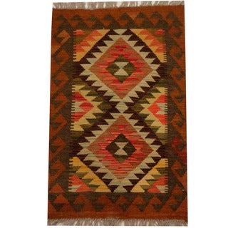 Herat Oriental Afghan Hand-woven Vegetable Dye Wool Kilim (1'11 x 3')