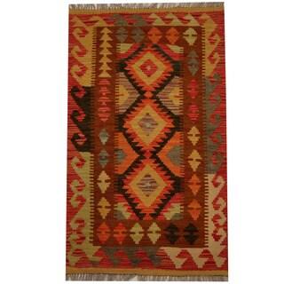 Herat Oriental Afghan Hand-woven Vegetable Dye Wool Kilim (2'1 x 3'7)