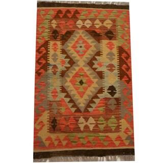 Herat Oriental Afghan Hand-woven Vegetable Dye Wool Kilim (2' x 3'3)