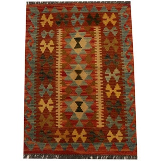 Herat Oriental Afghan Hand-woven Vegetable Dye Wool Kilim (2'2 x 3'1)