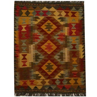Herat Oriental Afghan Hand-woven Vegetable Dye Wool Kilim (2'2 x 2'9)