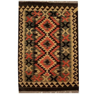 Herat Oriental Afghan Hand-woven Vegetable Dye Wool Kilim (2'3 x 3'3)