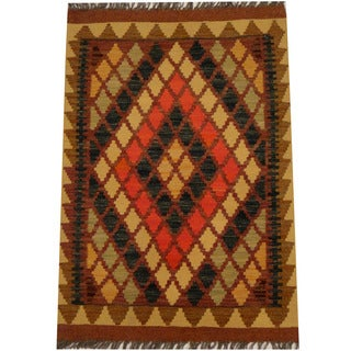 Herat Oriental Afghan Hand-woven Vegetable Dye Wool Kilim (2'3 x 3'2)