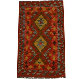 Herat Oriental Afghan Hand-woven Vegetable Dye Wool Kilim (2'1 x 3'5)