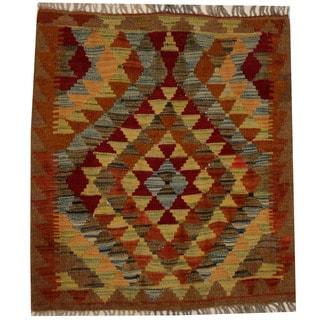Herat Oriental Afghan Hand-woven Vegetable Dye Wool Kilim (2'6 x 2'9)