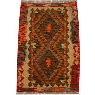 Herat Oriental Afghan Hand-woven Vegetable Dye Wool Kilim (2'1 x 2'11)