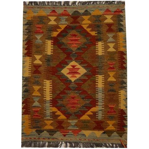 Handmade One-of-a-Kind Vegetable Dye Wool Kilim (Afghanistan) - 2'1 x 2'9