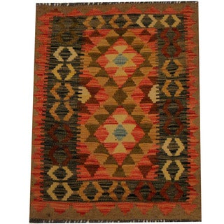 Herat Oriental Afghan Hand-woven Vegetable Dye Wool Kilim (2'2 x 2'10)