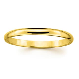 14k Yellow or White Gold Standard Fit Men and Women's 2 mm Wedding Band