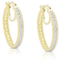 Finesque Gold Over Sterling Silver Diamond Accent Double Hoop Earrings
