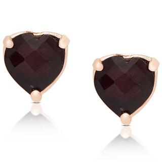 Dolce Giavonna Rose Gold Over Sterling Silver Garnet Heart Design Stud Earrings