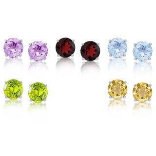 Dolce Giavonna Sterling Silver Gemstone Round Stud Earrings Set