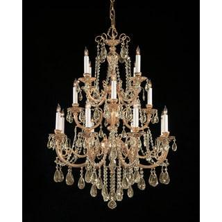 Crystorama Etta Collection 16-light Olde Brass/Golden Teak Crystal Chandelier