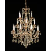Crystorama Etta Collection 16-light Olde Brass/Golden Teak Crystal Chandelier