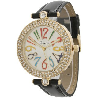Olivia Pratt Women's Black Leather Rhinestone-accented Watch
