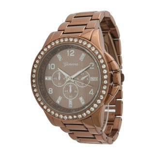 Olivia Pratt Women's Brown/Silvertone/Rose Rhinestone-accented Watch