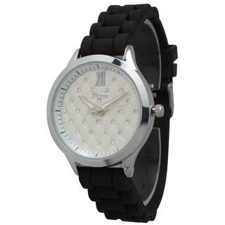 Olivia Pratt Women's Black Strap Polished Metal Bezel Rhinestone-accented Dial Watch
