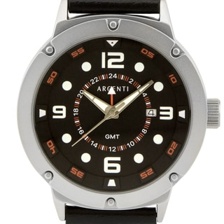 Argenti Typhoeus men's oversized GMT watch, 50mm, Ronda GMT movement, genuine leather